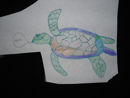 Turtle saying hello, by Crane-Station on flickr. Jail art, colored pencil.