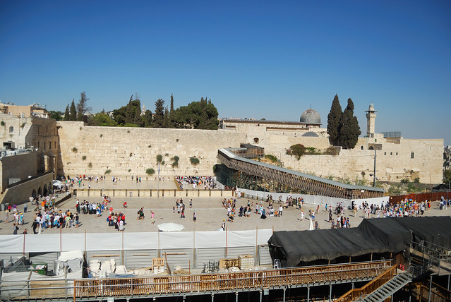 Western Wall with holier Temple Mount and the adjacent Al-Aqsa Mosque