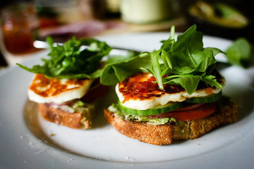 Halloumi open sandwich