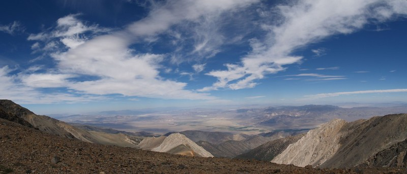 Panoramic view east toward Nevada from the shoulder of White Mountain Peak.