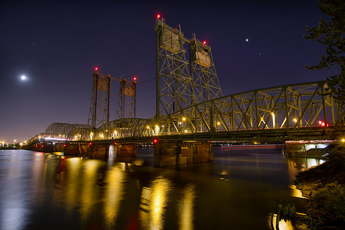 I-5 Interstate Bridge over Columbia River from Vancouver Washington Night - HDR