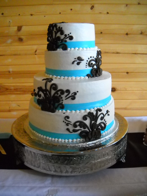 Black and Teal Wedding Cake