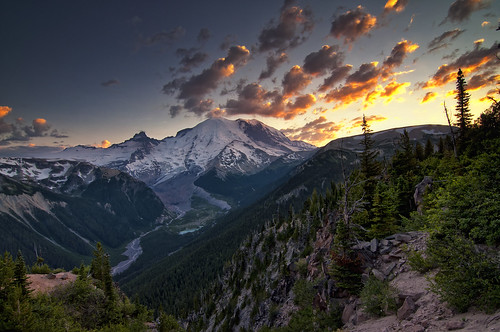 trees sunset sky mountain lake clouds sunrise river landscape washington valley mountrainier land