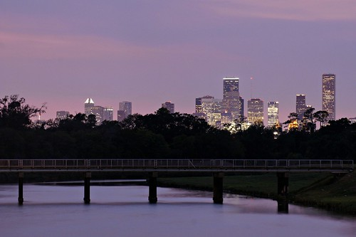 HOUSTON SKYLINE AFTER SUNSET WITH WATERFRONT