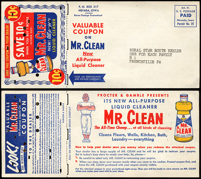 Mr. Clean Coupon, 1958