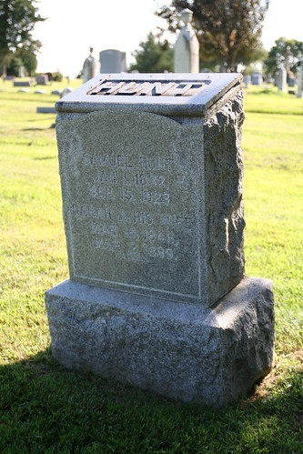 Tombstone of Samuel and Sarah Hunt