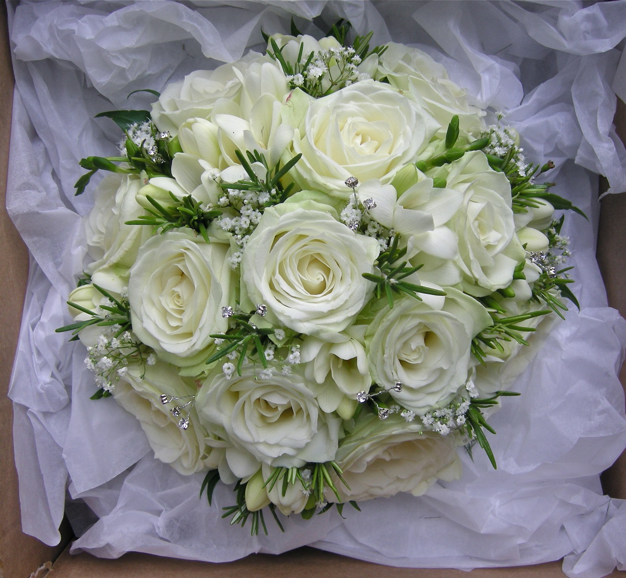 Wedding Bouquets Gypsophila Bouquet Of Roses Freesias And