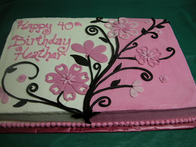 Pink And Black Flowered Sheet Cake Flickr Photo Sharing