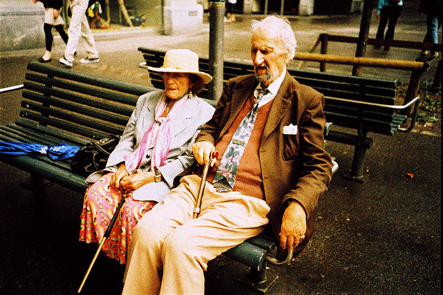 An old couple on a sunday afternoon.