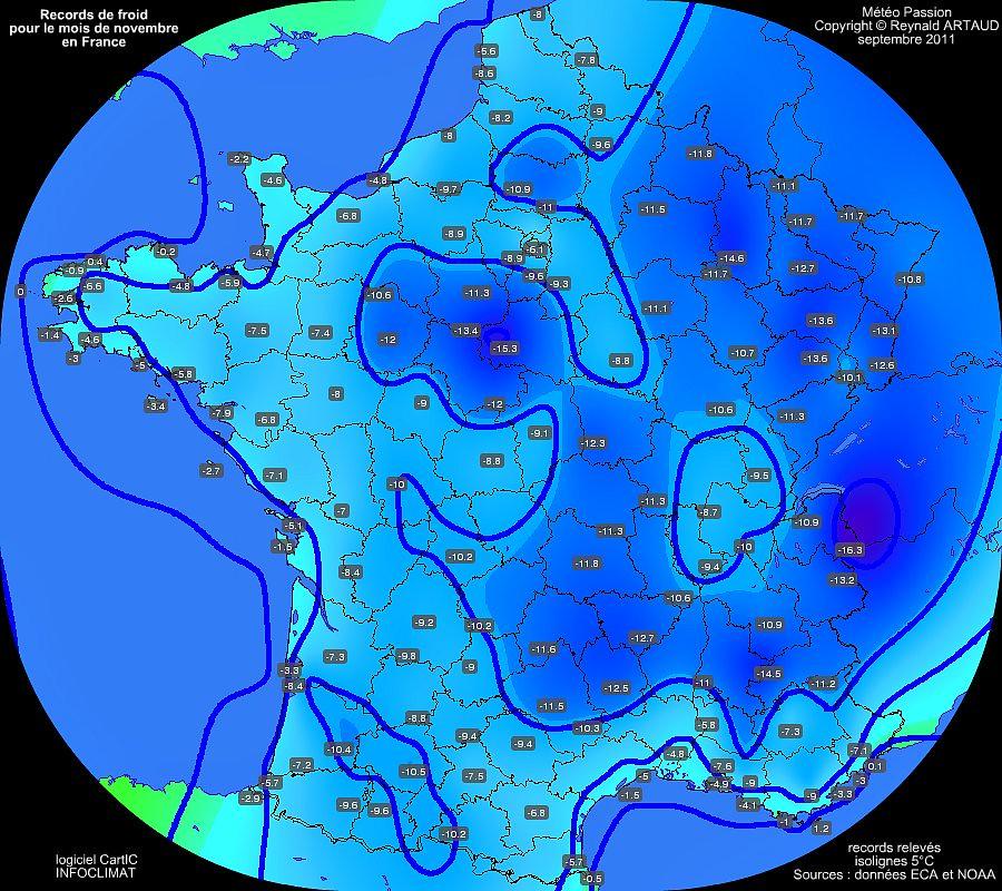 records de froid des températures minimales pour le mois de novembre en France Reynald ARTAUD météopassion