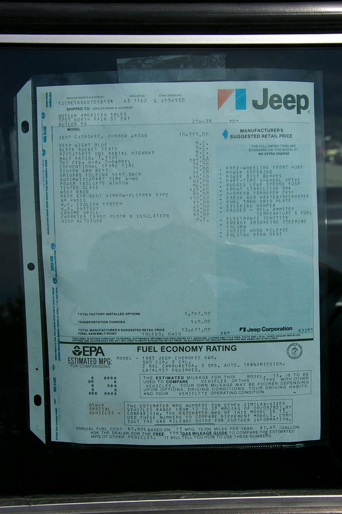 Full Size Jeep Cherokee Dealer Window Sticker- SJ | Inaugura