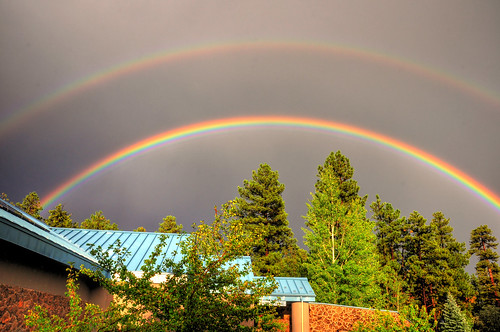 Sunset Double Rainbow over Lowell Observatory
