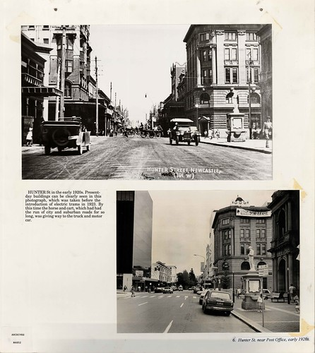 M4852 Two views of Hunter Street, Newcastle East, 1920's & 1922.