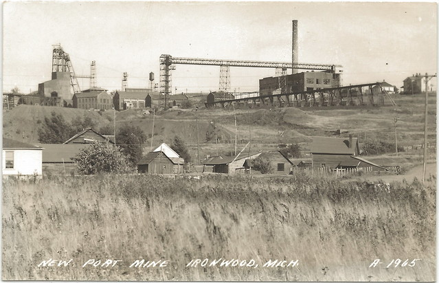 IRON Michigan Mining History Ironwood MI New Port Mine RPPC Shaft Rock House Power House and vast Works Property Unsent EKC Stamp Box LL Cook Card A-1965