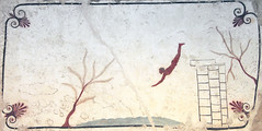 Ceiling fresco from a Greek tomb at Paestum, 480 BC, the dive by the youth into waves symbolizes the passage from life into death, unattributed