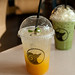 Peach & Passion fruit soda, Iced Matcha latte