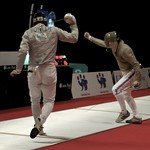 Scott Stuart (SCO) celebrates hit on Harry Boteler (ENG)