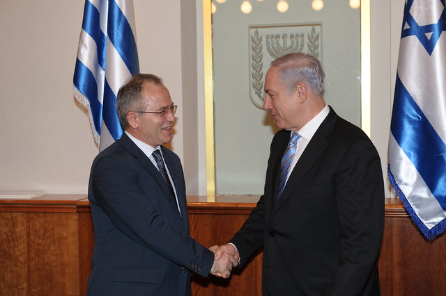 PM Netanyahu meets with Greek Defense Minister Panagiotis Beglitis in Jerusalem. Photo: Amos Ben Gershom, GPO