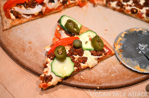 Half & Half Veggie and Seitan Sausage Pizza!