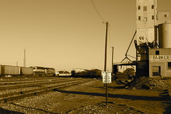 Abandoned grain elevator; Wichita Falls rail yard