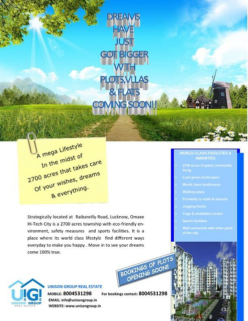 Hitech city omaxe hitech city plots omaxe lucknow unison group unison