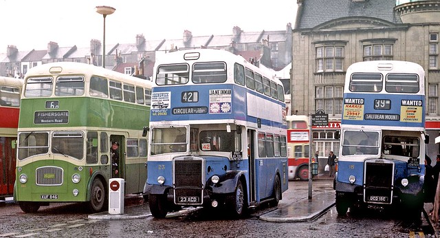 Brighton Corporation: 18 DCD18C 1965, 23 23ACD 1962 Leyland PD2/37 Weymann H64F with Southdown 846 XJF846 Leyland PD3/4 NCME FH69F at Brighton Station