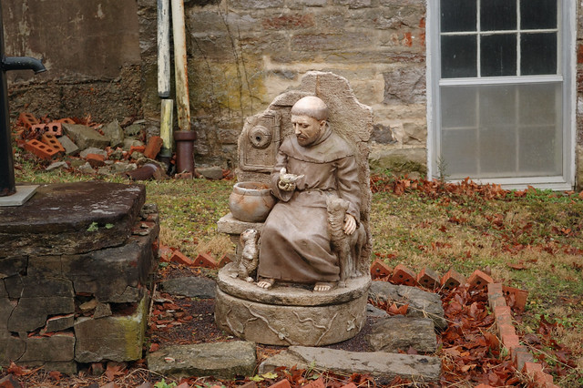Saint Joseph Roman Catholic Church, in Apple Creek, Missouri, USA - outdoor statute of Saint Francis of Assis
