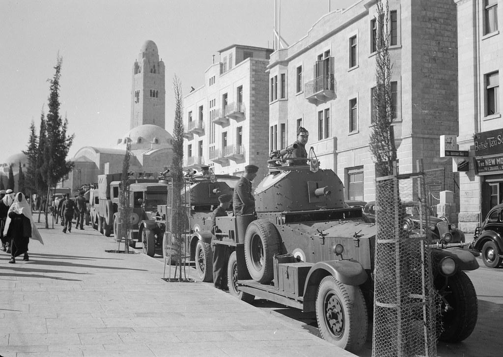 Royal Air Force armoured cars on Julian Way, Jerusalem , Palestine circa 1939