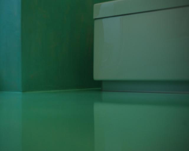Bagno resina verde acqua spatolato verticale - Bagno verde acqua ...