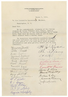 Letter from Lyons Township High School Students Supporting Keating-Owen Child Labor Bill, 03/07/1916