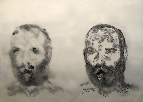 "Aaron Smith, ""Double"", 2008, ink on paper, 21""x29"""