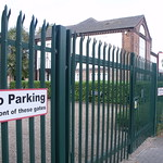 Air Link Systems - The Manor, Redfern Road, Tyseley - Former Hay Hall - fence / gate - sign - No Parking in front of these gates