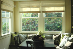 Environment Friendly Window Treatment - Roman shades in Breakfast Area