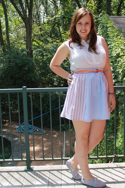 DIY skirt from men's shirt sleeves