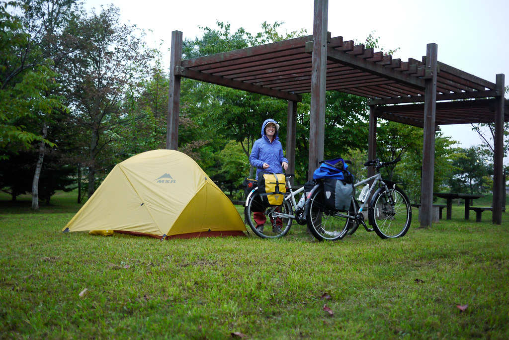 A wet start to the day in Eniwa, Hokkaido, Japan (stealth camping at the Eniwa michi-no-eki)