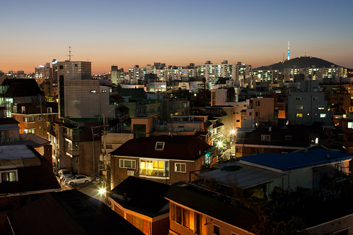 This is the roof of our flat, Itaewon is basically where the tower on the right is