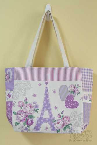 tote bag, japanese fabric, handmade,cotton linen, kokka, unqiue fabric, eiffel of paris, purple