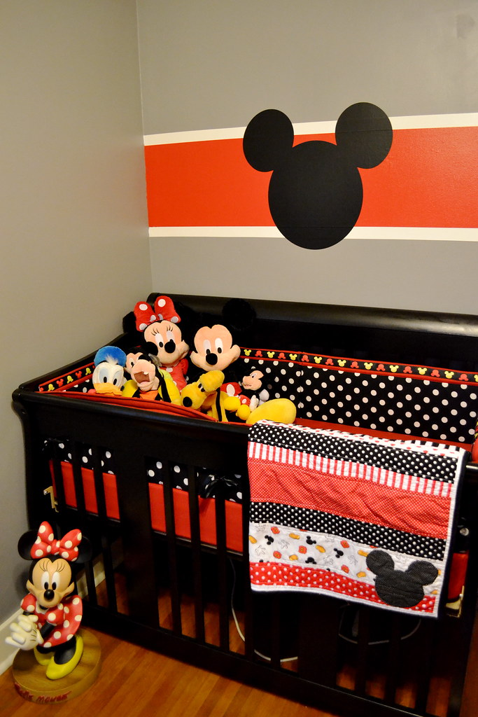 Mickey mouse nursery and a baby reveal newlywoodwards - Mickey mouse clubhouse bedroom decor ...