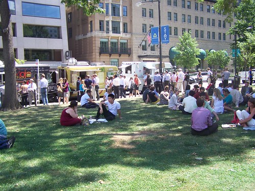 People lined up for Food Trucks, Farragut Square