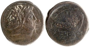 97/B1 = 97/22b Luceria P-L As. Third phase. Janus  / P; Pi, I / Prow / L / ROMA. ANS 1944.100.73758 Newell 23g53