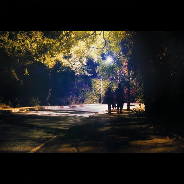 Walking under artificial light