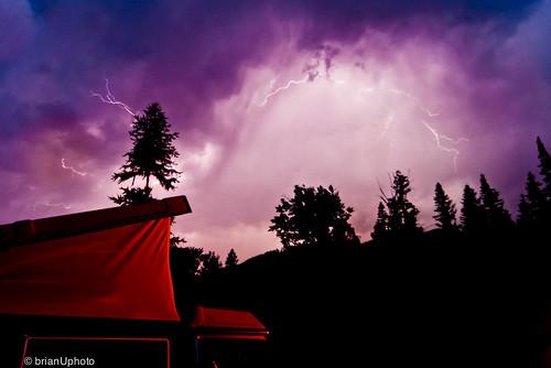 blue trees mountain storm water vw clouds shadows purple valley lightning camper puffy kootenays wispy ziggy volkswagon lightningstrike westfalia vanagon goatriver travelingtheinteriourofbc