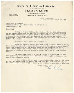 Petition Against the Proposed Child Labor Amendment, 04/09/1924