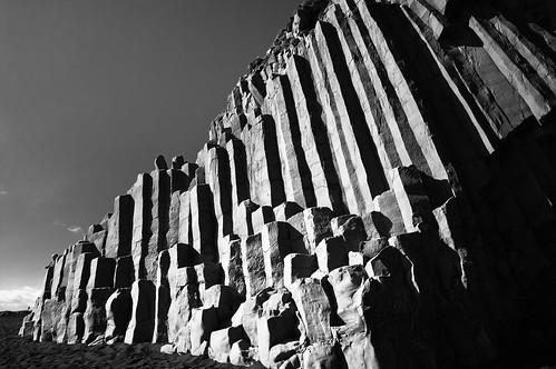 Basalt Columns at Dyrholaey (B&W)
