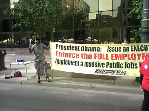 Banner produced by the Moratorium NOW! Coalition for the Labor Day march in Detroit urging President Barack Obama to issue an executive order aimed at enforcing the full employment act. Obama would speak later the same day. (Photo: Abayomi Azikiwe) by Pan-African News Wire File Photos