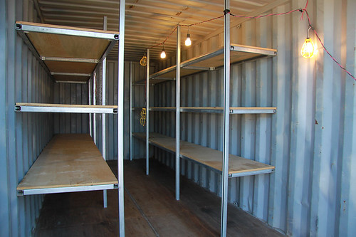 Shelving can be installed to help organize your container.