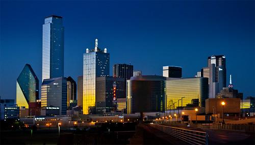 city sunset skyline modern night lights dallas twilight colorful downtown skyscrapers