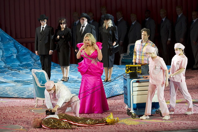 Alan Oke as J.Howard Marshall, Eva-Maria Westbroek as Anna Nicole and Gerald Finley as Stern in Anna Nicole in Anna Nicole © Bill Cooper/ROH 2011