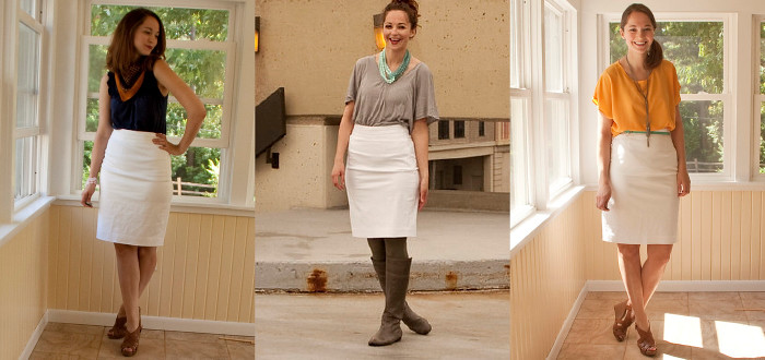 white pencil skirt, one piece three ways, remixes, ootd, how to wear, white skirt