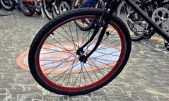automotive tire(0.0), bicycle racing(0.0), bicycle motocross(0.0), tarmac(0.0), tire(1.0), wheel(1.0), vehicle(1.0), sports equipment(1.0), rim(1.0), cycle sport(1.0), bicycle wheel(1.0), bicycle frame(1.0), bicycle(1.0), spoke(1.0),